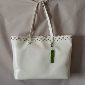 Sam Edelman White Scalloped  Tote